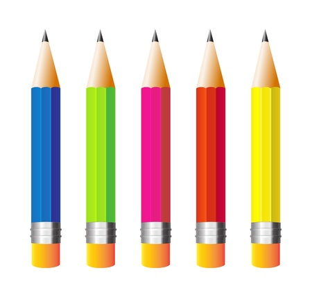 illustration pencils isolated on white background