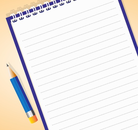 illustration of lined notepad with pencil Vector