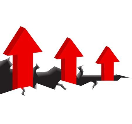 walk away: Success will walk away from a dangerous cliff. A red arrow. Illustration