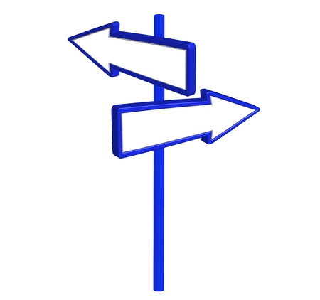 directional arrow: blank road sign isolated over white background. vector Illustration