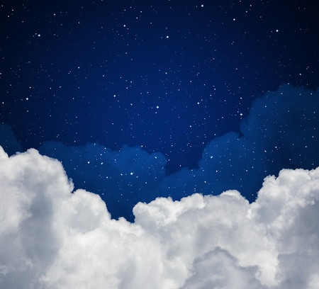 Abstract blue night sky with stars photo