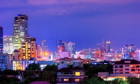 View over the city of bangkok at nighttime  photo