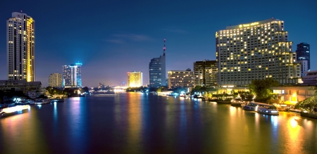 The light from the tallest building in the city and the river. Beautiful views of Bangkok Thailand. Stock Photo - 15765744