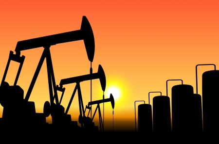 exploration: silhouette of working oil pumps on sunset background Illustration