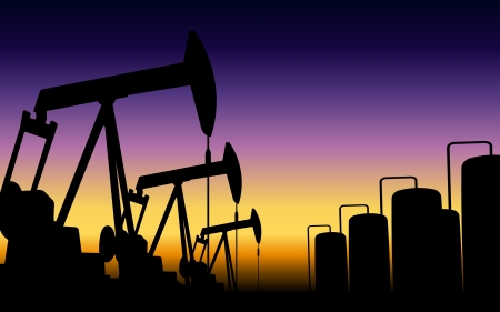 derrick: silhouette of working oil pumps on sunset background Illustration