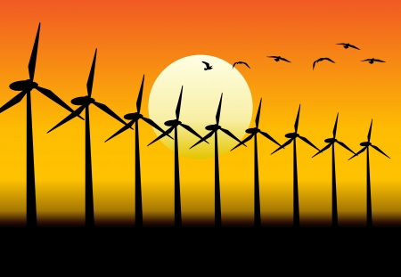 converter: Alternative group of energy-producing windmills with sunset background.