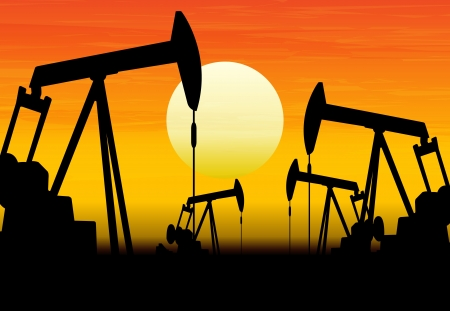 drill: silhouette of working oil pumps on sunset background Illustration