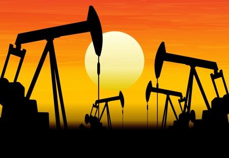 oil barrel: silueta de bombas de aceite que trabajan en el fondo la puesta del sol Vectores