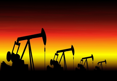 silhouette of working oil pumps on sunset background Vector