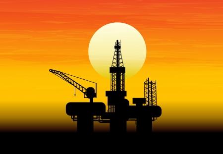 yacimiento petrolero: Aceite derrick en el mar para el diseño industrial.
