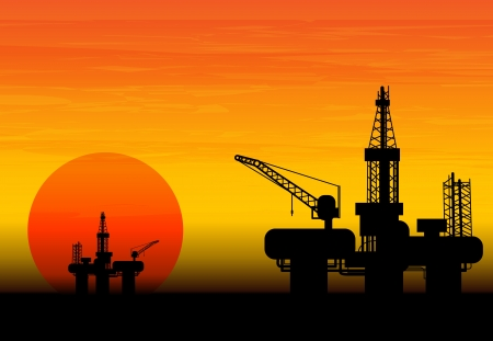 oil and gas industry: Oil derrick in sea for industrial design.
