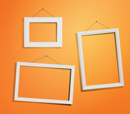 group picture: Picture frame vector. Photo art gallery on vintage wall.