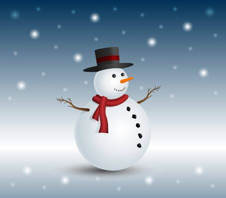 frosty the snowman: Christmas snowman in snowy winter for illustration  Illustration