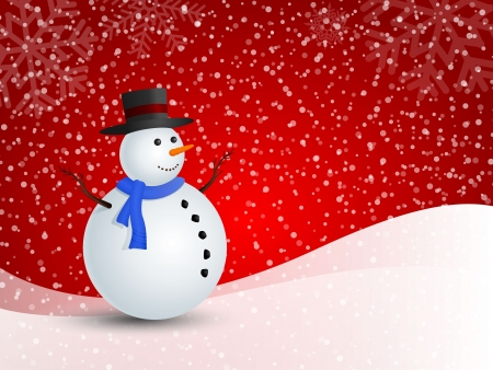 Christmas snowman in snowy winter for illustration. Vector