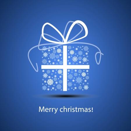 Snowflake gift box for Christmas illustration