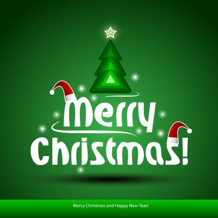 muerdago navideÃ?  Ã? Ã?±o: De fondo de Navidad con el árbol de navidad, ilustración Vectores