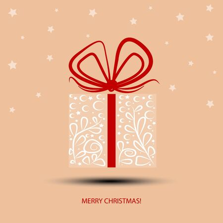 Gift box with painted white lines  For making Christmas cards  Vector