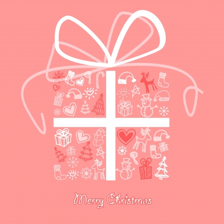 snowman background: Christmas gift box with a pattern related to the holiday season.
