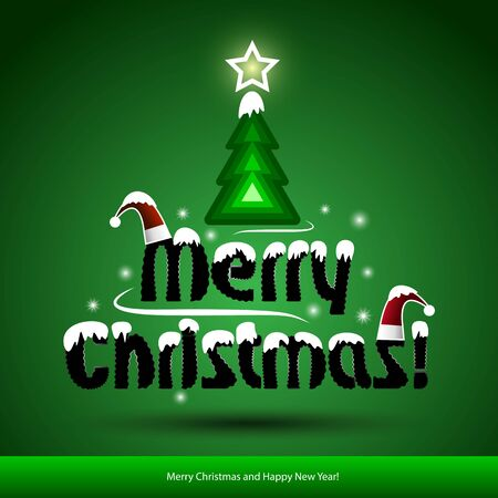 merry christmas with white snow and Christmas tree. Illustration. Vector
