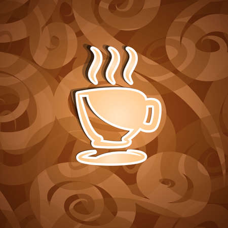Illustration cute ornate vintage with coffee cup - vector Vector