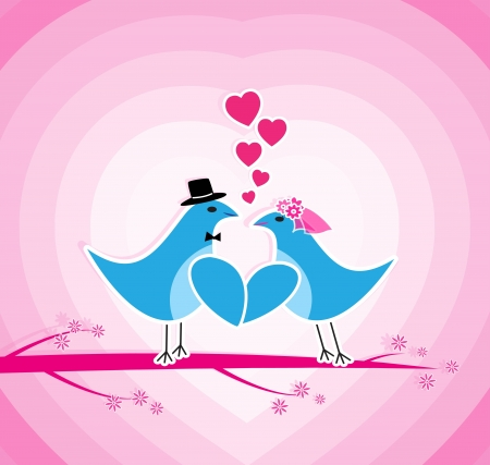 Two birds sitting at the brunch of the love tree. Vector