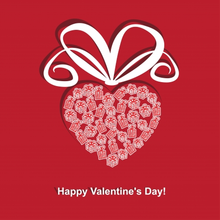 Greeting cards for Valentine's Day. A heart-shaped red gift box. Stock Vector - 17588957