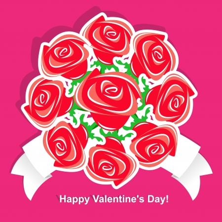 A bouquet of flowers for Valentines Day. Vector illustration of roses. Vector