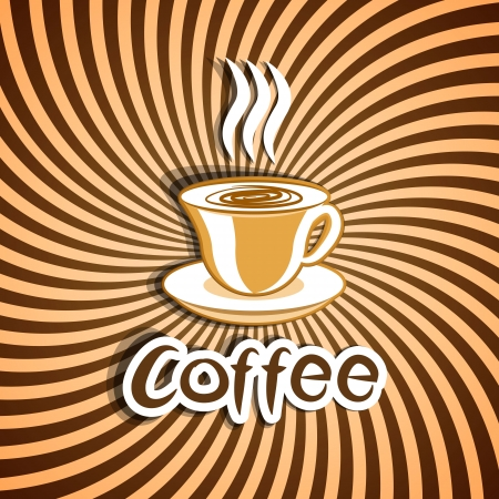 cup: Illustration cute ornate vintage with coffee cup - vector Illustration