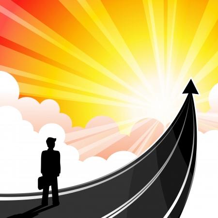 Business man met de pijl moet reizen naar het succes van bedrijven.