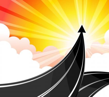 목표는 성공적인 비즈니스의 경로를 여행하는 것입니다.