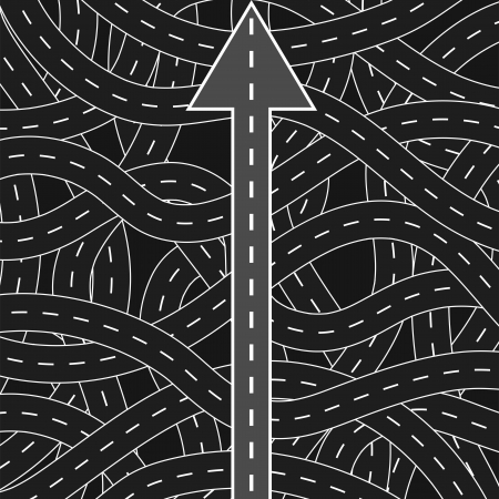divergence: Straight road among curly ones, symbolizing the right way to choose Illustration
