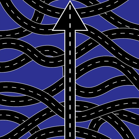 Straight road among curly ones, symbolizing the right way to choose Stock Vector - 17589046