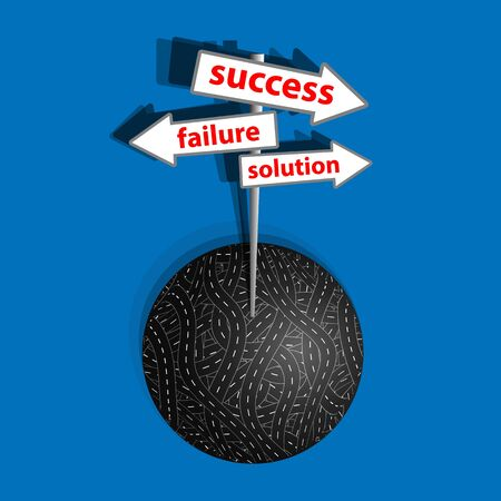 business competition: The way to success on the business competition. A vector illustration.