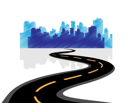 city abstraction with the road leading to it Stock Vector - 17589059