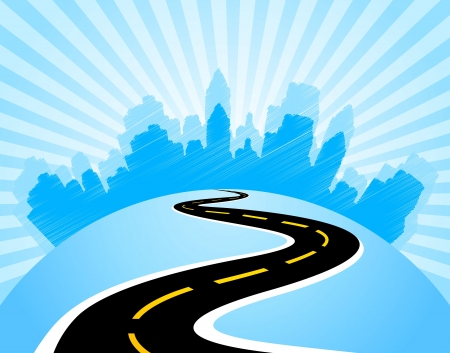 city abstraction with the road leading to it Stock Vector - 17589041