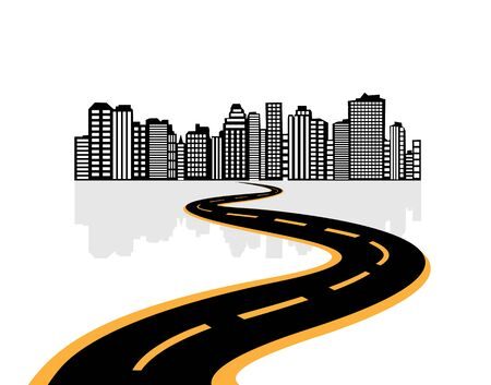 city abstraction with the road leading to it Stock Vector - 17588985