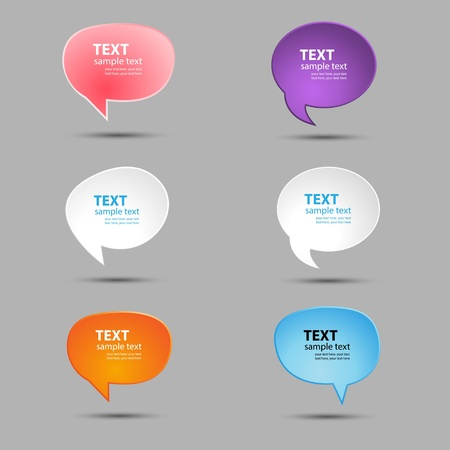 Speech bubbles for text in bright colors. A vector illustration. Illustration