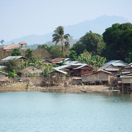 Country house adjacent freshwater lake in Thailand  photo