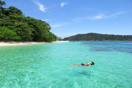 adventure holiday: The island is forest green. And corals. Tourism of Thailand Stock Photo