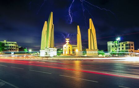 democracy monument lightning as a severe political crisis Thailand