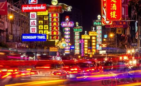 Bangkok - 6 juli: De China Town op Yaowarat Road. Aantrekkelijke licht 's nachts, Thailand op 6 juli 2013. Redactioneel