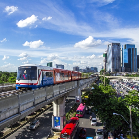 Bangkok - June 14: Transport in the capital of Thailand. Skytrain is popular because it is fast., Thailand on June 14, 2013.