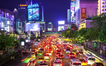 Bangkok - July 1: Road with traffic jams. Area in front Central World. Economic center of Bangkok., Thailand on July 1, 2013.