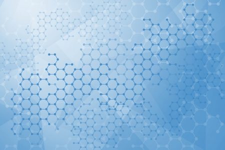 hexagon background: Abstract molecules medical background Illustration
