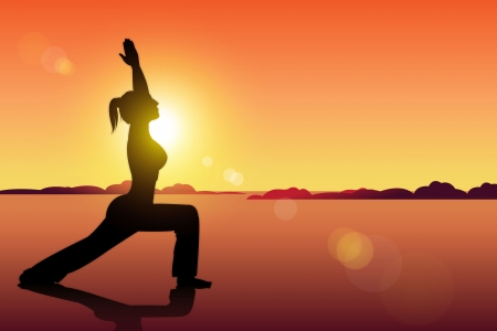 Yoga woman pose on the beach during sunset Vector