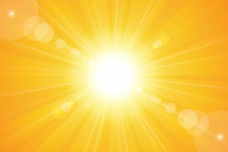 rayos de sol: Brillante día soleado cielo del atardecer naranja de fondo para las ilustraciones