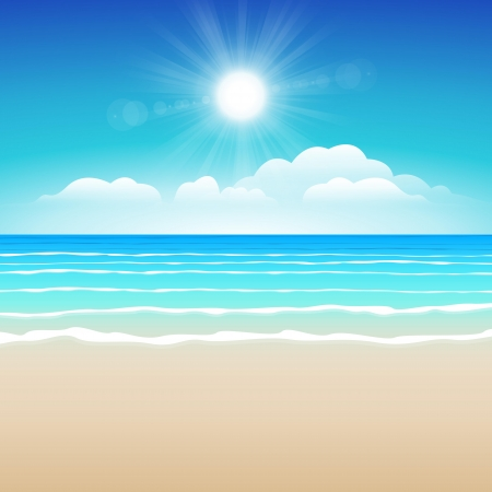 paradise beach: Seascape vector illustration  Paradise beach