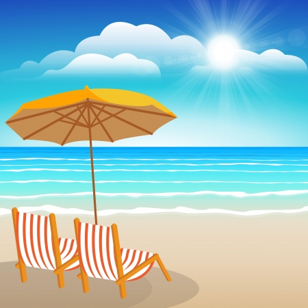 Chairs, umbrella,Seascape vector illustration  Paradise beach  Vector