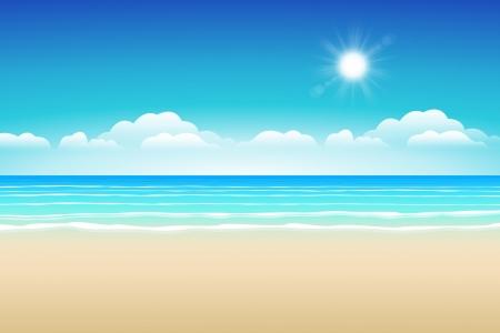 Zeegezicht vector illustratie Paradise strand Stock Illustratie