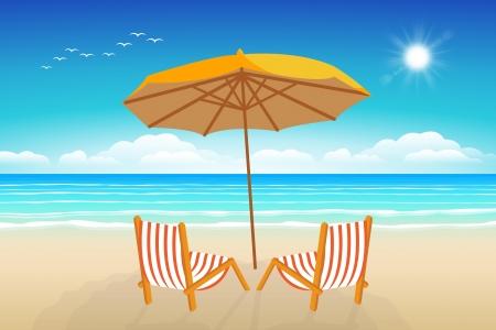 Sillas, sombrillas, Seascape ilustración vectorial. Paradise beach. Ilustración de vector